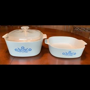 Corning Ware Blue Corn Flower 2 casserole dishes